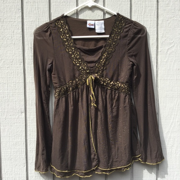 Other - Hannah Montana brown and gold blouse